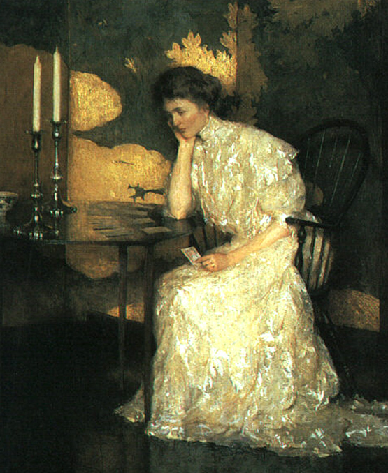 Girl Playing Solitaire 1909 (555x678, 239Kb)