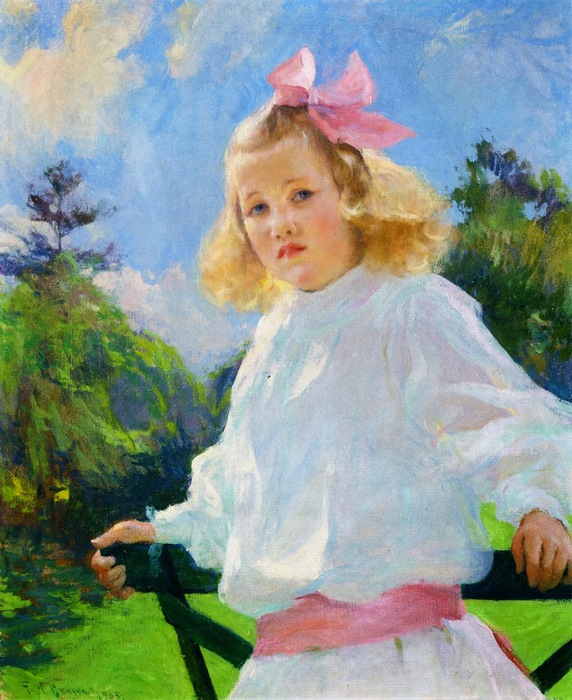 Frank Weston Benson - Girl with Pink Bow (572x700, 150Kb)