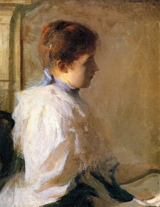 Frank Weston Benson - Young Girl in Profile (542x700, 147Kb)