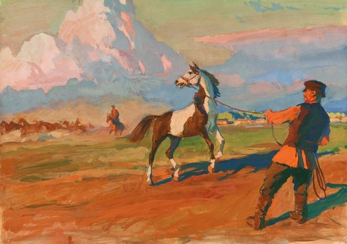 Холстомера уводят из табуна. Иллюстрация к рассказу Л.Н. Толстого Холстомер. 1952–1953 гг. ГТГ. (700x491, 111Kb)