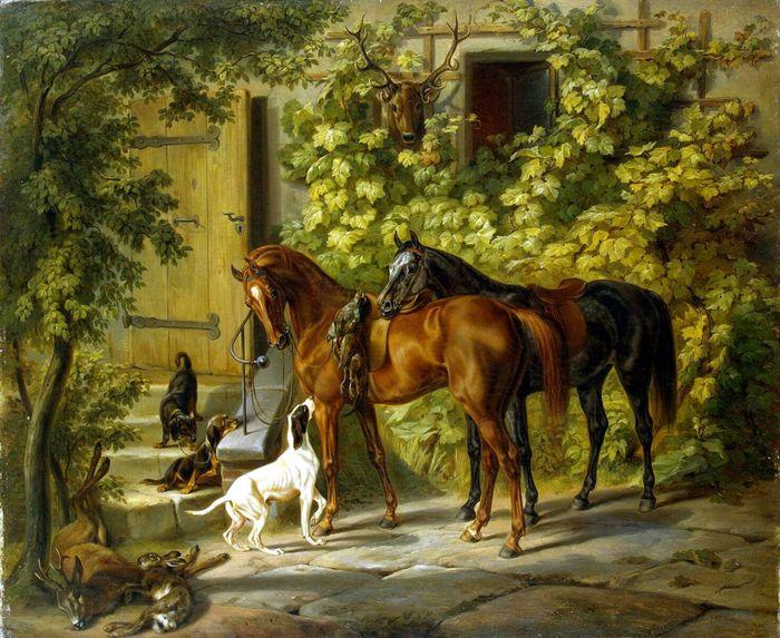 Альбрехт Адам. Лошади у крыльца (700x573, 102Kb)