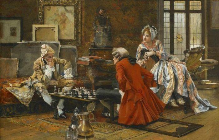 Игра в шахматы. Автор: Francois Flameng.