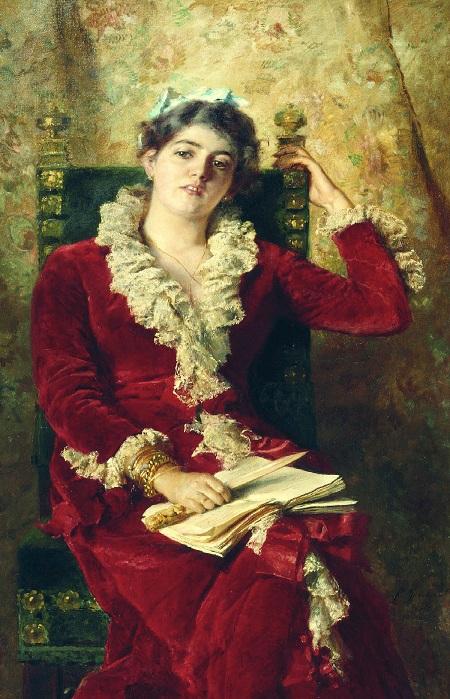 Портрет Юлии Павловны Маковской в красном. (1881). Автор: К.Е. Маковский.