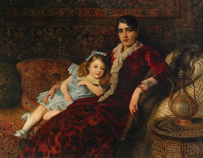 Мать и дочь в интерьере. (1883). Автор: К.Е. Маковский.
