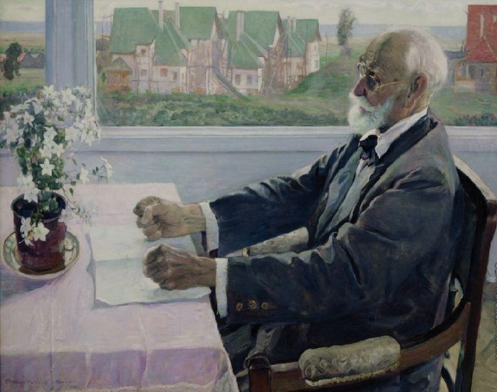 Портрет академика физиолога И.П.Павлова . (1935). Автор: Михаил Нестеров.