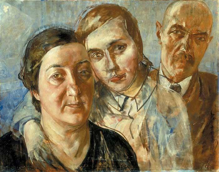 «Семейный портрет (Автопортрет с женой и дочерью)». (1933). Автор: К.С. Петров-Водкин.