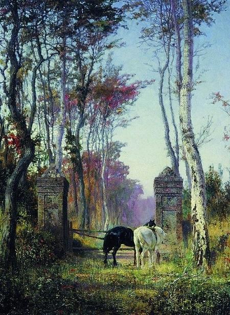 В парке. Местечко Вель в Нормандии. (1874). Автор: Василий Поленов.