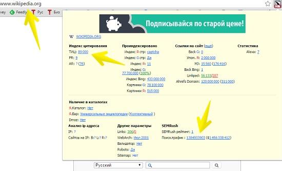 Показатели сайта wikipedia.org в RDS-баре
