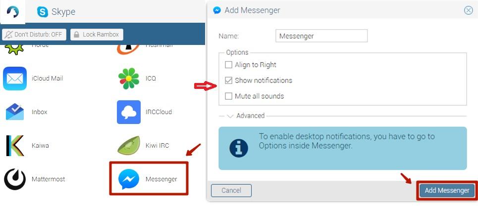 Выберите нужный вам сервис и нажмите Add Messenger