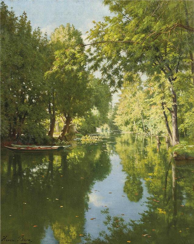 Над рекою деревья склонились, Отражаются в тихой воде Французский художник Анри Бива, Henri Biva