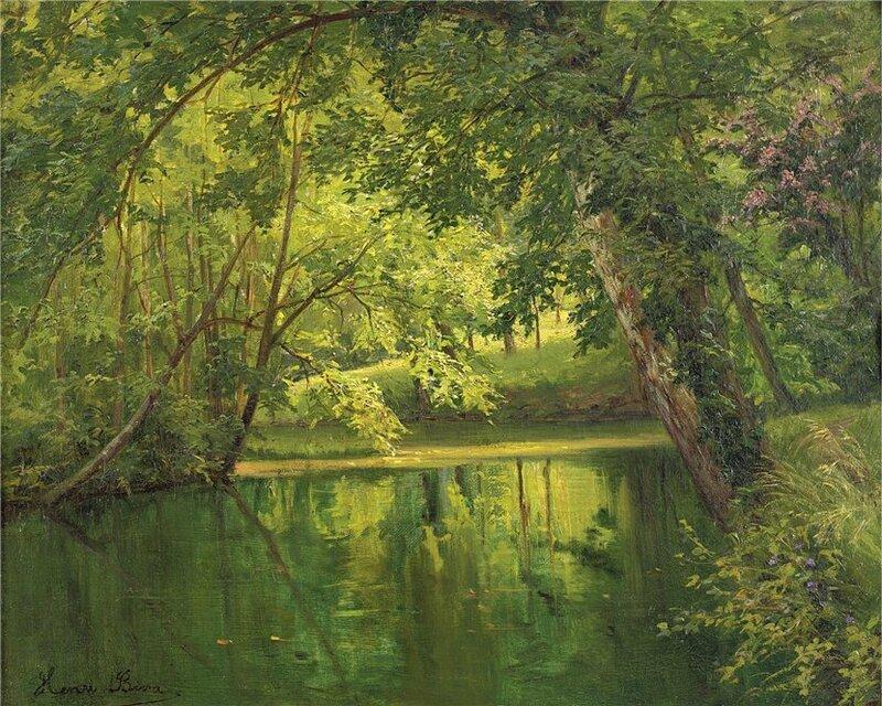 Над рекою деревья склонились, Отражаются в тихой воде. Henri Biva