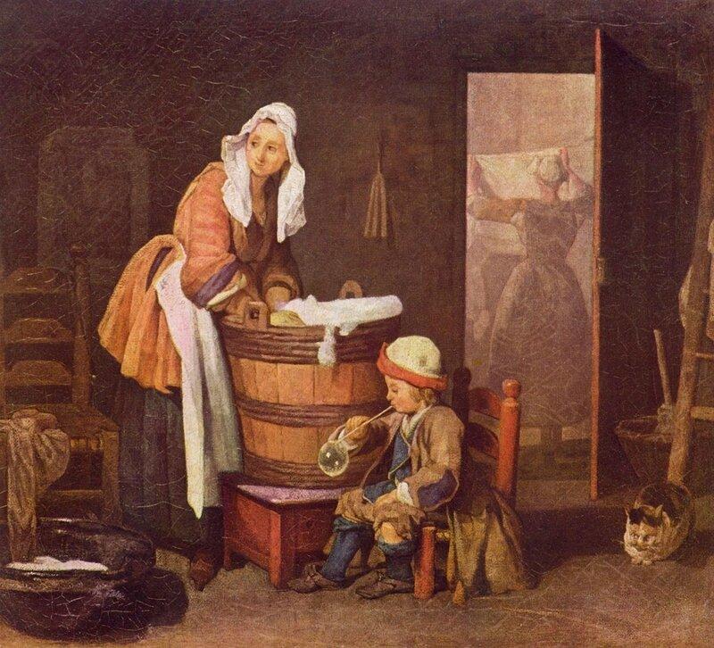 Chardin, Jean-Baptiste Simeon (1699-1779) The Laundry Woman Hermitage, St. Petersburg, Russia.