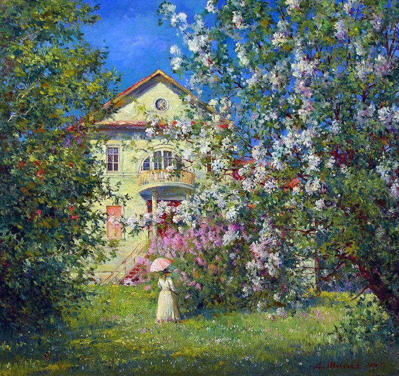 Домик окнами в сад заметает упрямо золотой листопад... Александр Шевелёв