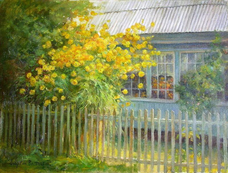 А весна, что погасла вдали, в отчем доме цветёт и зимой! Художник Егоркин Владимир Дмитриевич