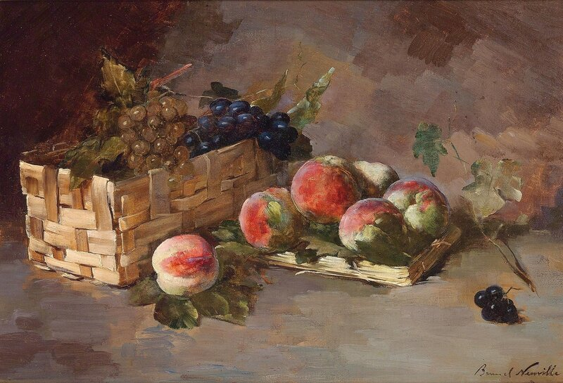 Натюрморт с персиками и виноградом в корзинке.jpg
