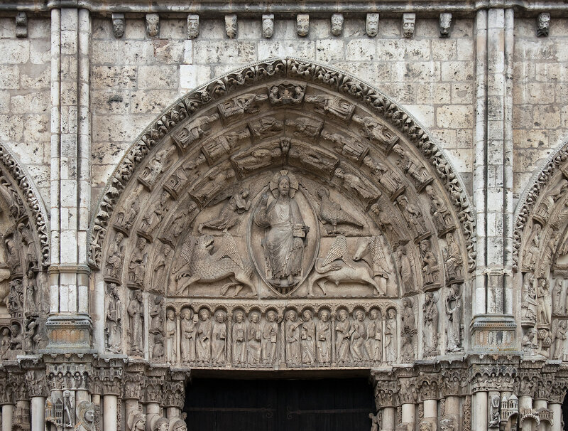 Tympanum of the central bay of the Royal Portal of the cathedral of Chartres, France.