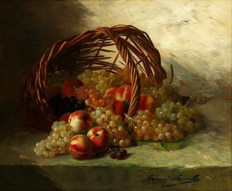 Натюрморт с персиками, виноградом и корзиной.jpg