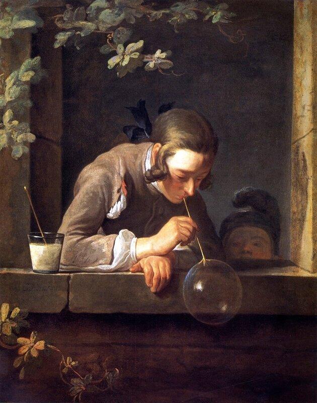 Soap Bubbles 1733-5 . Jean-Baptiste-Simeon Chardin. Oil. National Gallery of Art DC