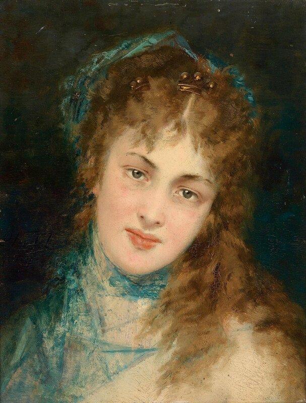 Портрет дамы с голубым шарфом