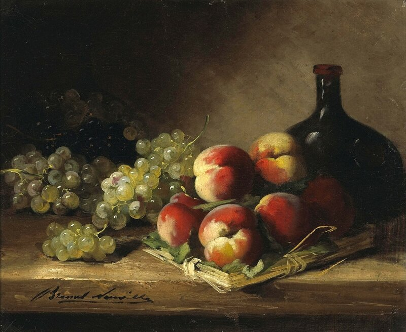 Натюрморт с фруктами и бутылью.jpg