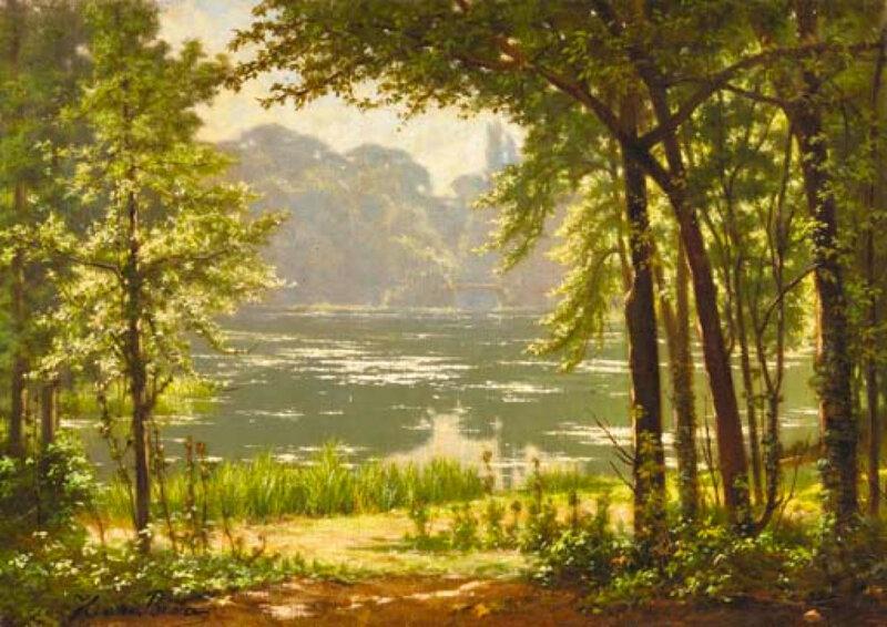 Над рекою деревья склонились, Отражаются в тихой воде. Французский художник Анри Бива, Henri Biva