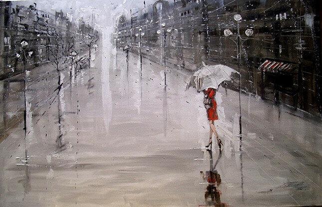 Уходящая в дождь...Польская художница Моника Луньяк