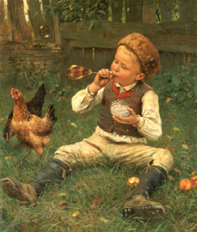 Lins, Adolf (1856-1927) Blowing Bubbles, 1885 (oil on canvas)