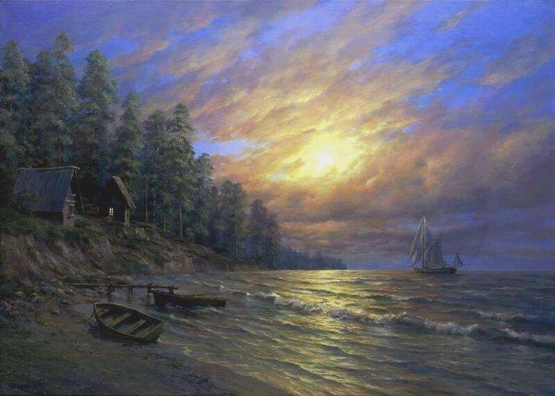 Андрей Огурцов. Луна над морем.