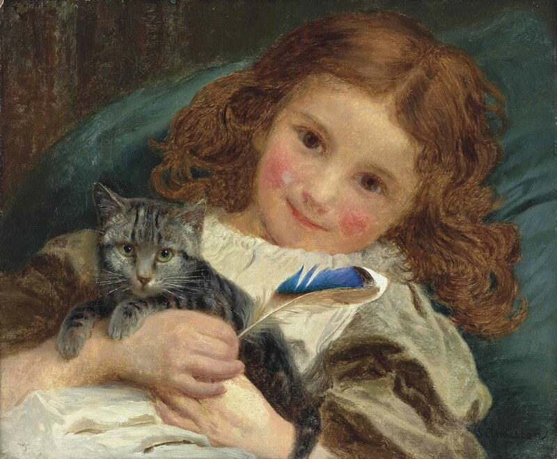 Девочка с котенком. Sophie Gengembre Anderson (1823-1903)