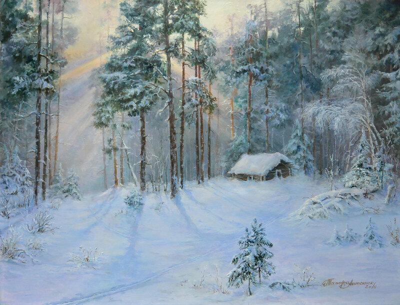Жила зима в избушке.