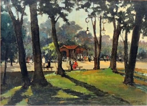 SILVIO PINTO, Quinta da Boa Vista - óleo sobre madeira - 52x71cm - ass., datado e localizado cid. 1947 - Rio. Obra adquirada em leilão do Copacabana Palace (Coleção particular ROSANA