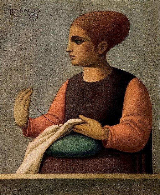Reynaldo Fonseca (Brasil, 1925) Mulher bordando, 1969, ost, 46 x 38cm