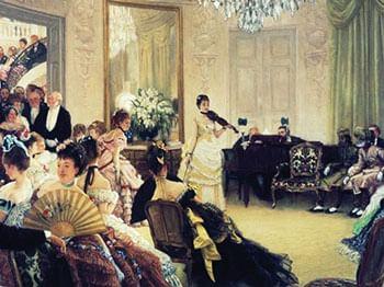 Выступление скрипачки в комнате. Картина.