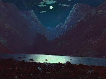 Ночной пейзаж: горы, море, полная луна. Картина.