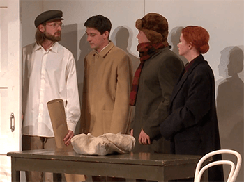 Сцена из спектакля «Маяковский идет за сахаром».