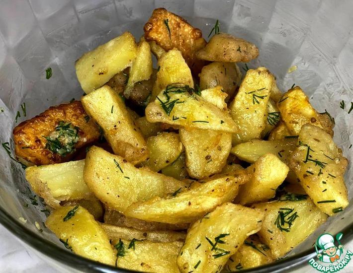 Рецепт: Картофель в кляре с чесноком и укропом