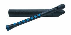 NUVO Recorder+ Black/Blue with hard case блок-флейта сопрано, строй - С, немецкая система, накладка на клапана, материал - АБС пластик, цвет - чёрный/голубой, жесткий чехол в комплекте