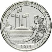 """Монета США 1/4 доллара (квотер, 25 центов) 2019 D """"Национальные парки - Мемориал парк (47-й парк)"""" H130901"""