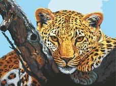 """Канва с нанесенным рисунком Grafitec """"Взгляд леопарда"""", жесткая, для вышивания гобеленовым швом, 30 x 40 см"""