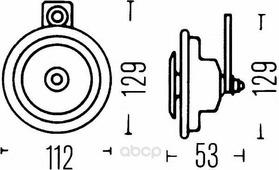 Сигнал Звуковой 400hz 12v HELLA арт. 3BA 002 768-551