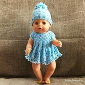 Одежда для куклы Baby Born - платье Krispy Handmade голубое