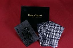 Игральные карты Adam Franklin в шкатулке из чёрного дерева (игровые), подарочный набор, черные черный