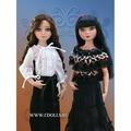 Tonner Woeful Ribbon and Dots Top (Скорбная черная кружевная блузка в горошек для кукол Элловайн от Тоннер)
