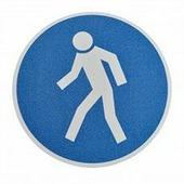 """Противоскользящий напольный знак """"Для пешеходов"""", белый-синий, круг Ø 400 мм {MBMK005400}"""