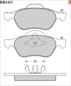 Дисковые Тормозные Колодки R Brake R BRAKE арт. RB1431