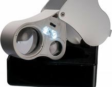 Ювелирная лупа с 25-кратным увеличением 25мм, 50-кратным увеличением 14мм, с подсветкой, в футляре Z415801