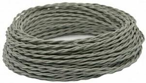 Ретро кабель витой электрический (50м) 2*0.75, серый, ПРВ2075-СЕР Panorama