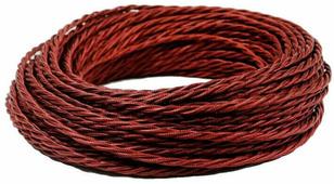 Ретро кабель витой электрический (50м) 2*0.75, гранатовый шелк, ПРВ2075-ГРШ Panorama