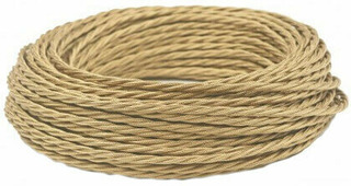 Ретро кабель витой электрический (50м) 2*1.5, бронзовый шелк, ПРВ2150-БРШ Panorama