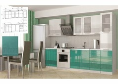 Кухонный гарнитур Олива-3D белый, бирюза (с пеналом) 2,2 м